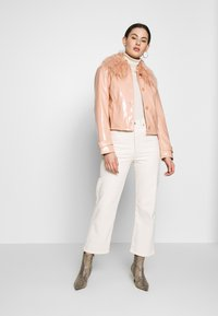 Topshop - LISA FUR COLLAR - Faux leather jacket - peach - 1