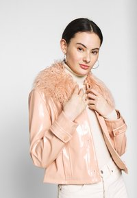 Topshop - LISA FUR COLLAR - Faux leather jacket - peach - 4