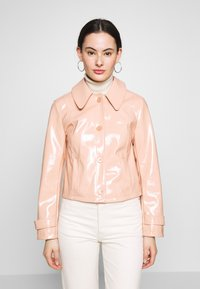 Topshop - LISA FUR COLLAR - Faux leather jacket - peach - 0