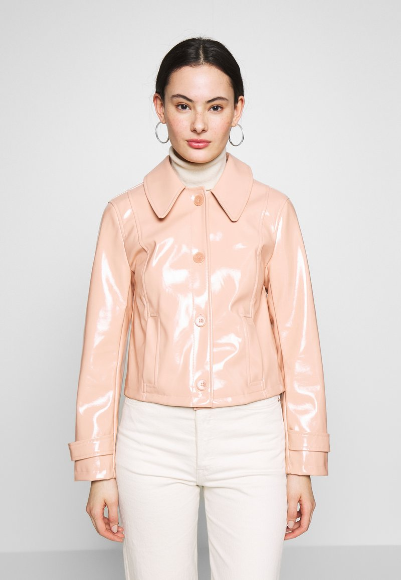 Topshop - LISA FUR COLLAR - Faux leather jacket - peach
