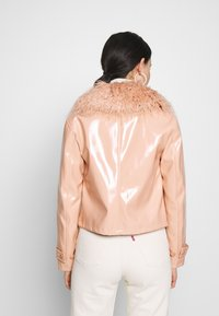 Topshop - LISA FUR COLLAR - Faux leather jacket - peach - 2