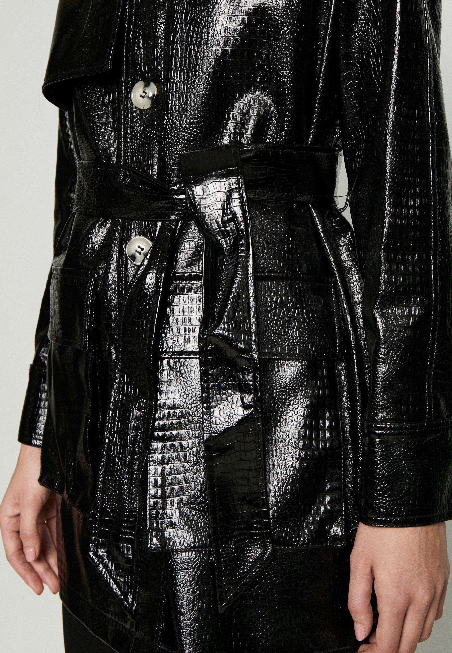 Topshop Charlie Croc Shacket - Short Coat Black