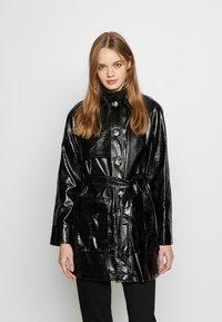 Topshop - CHARLIE CROC SHACKET - Short coat - black - 0