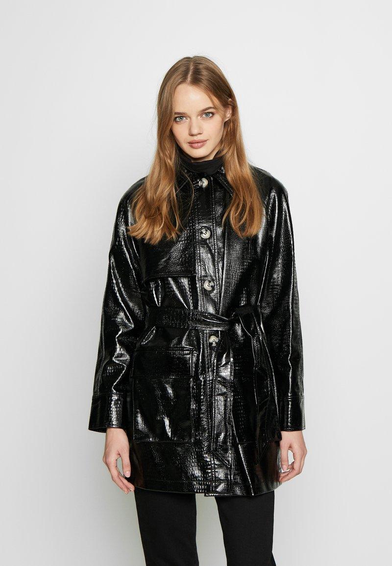 Topshop - CHARLIE CROC SHACKET - Short coat - black