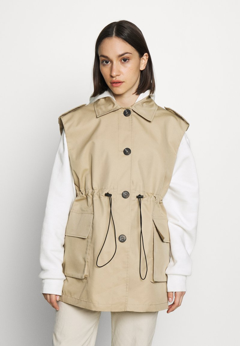 Topshop - SLEEVELESS CROP TRENCH - Smanicato - sand