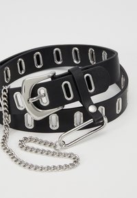 Topshop - OVAL EYELET CHAIN - Riem - black - 2