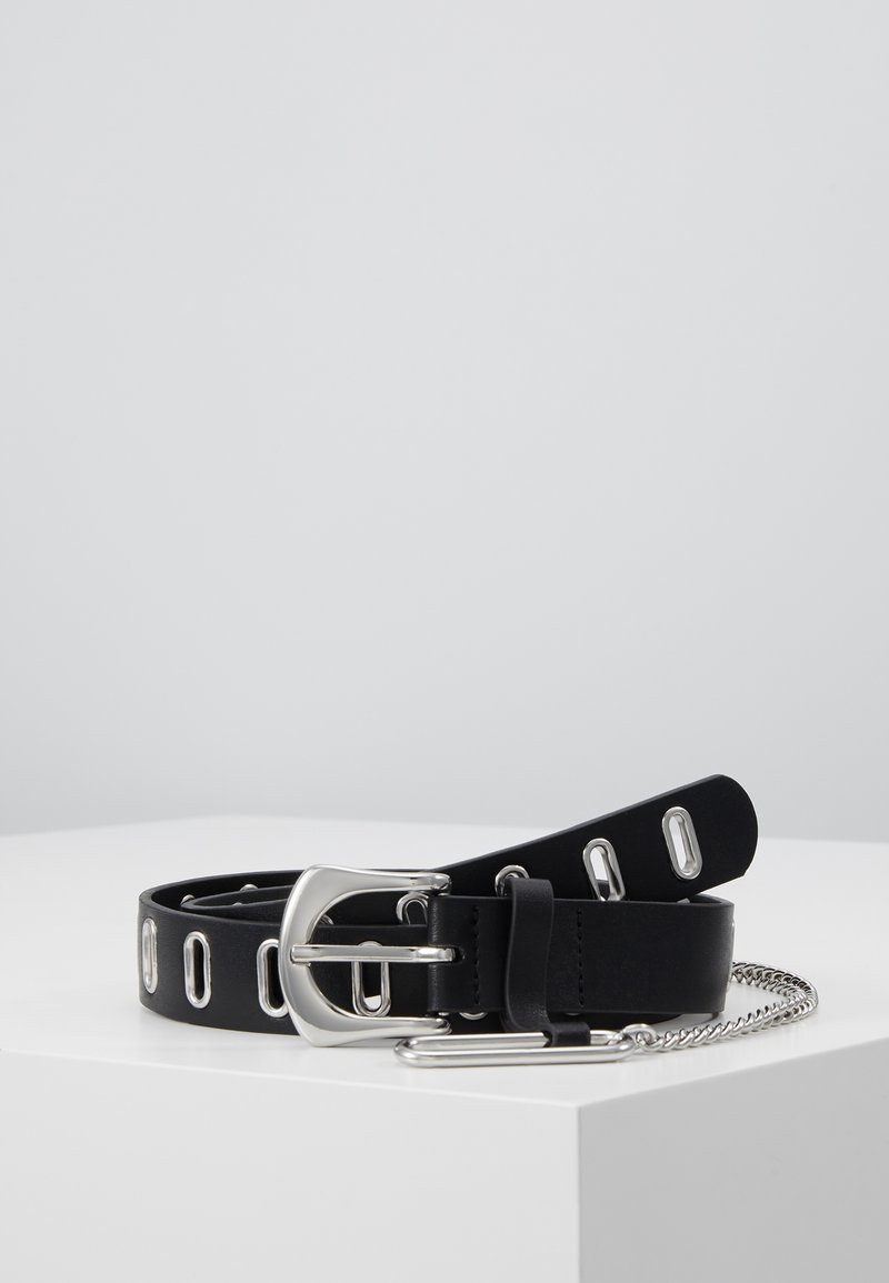 Topshop - OVAL EYELET CHAIN - Riem - black