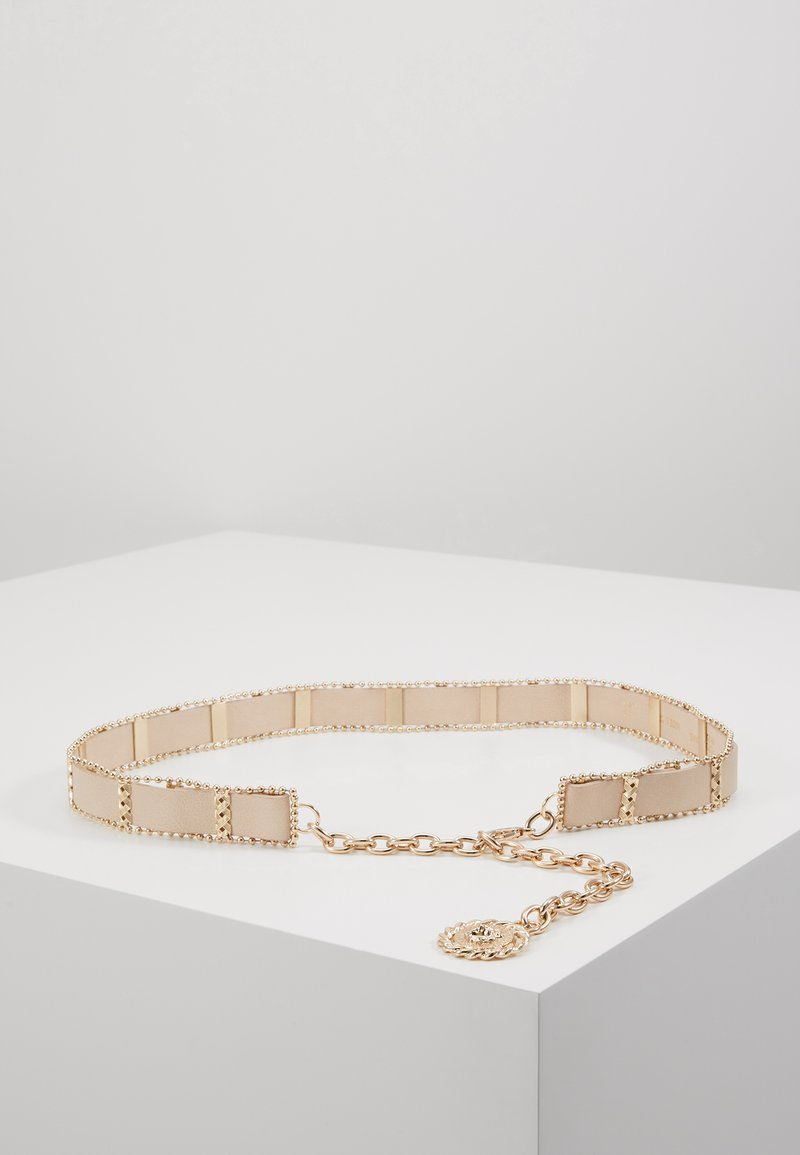 Topshop - WEAVE CHAIN LION COIN - Belt - nude