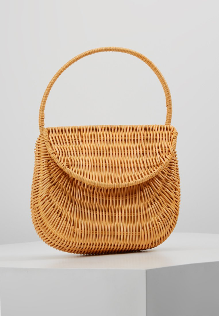 Topshop - SPLIT WICKER MINI - Handbag - natural