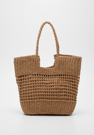 OPEN WEAVE TOTE PLAITED HANDLE - Shopping bag - buttermilk