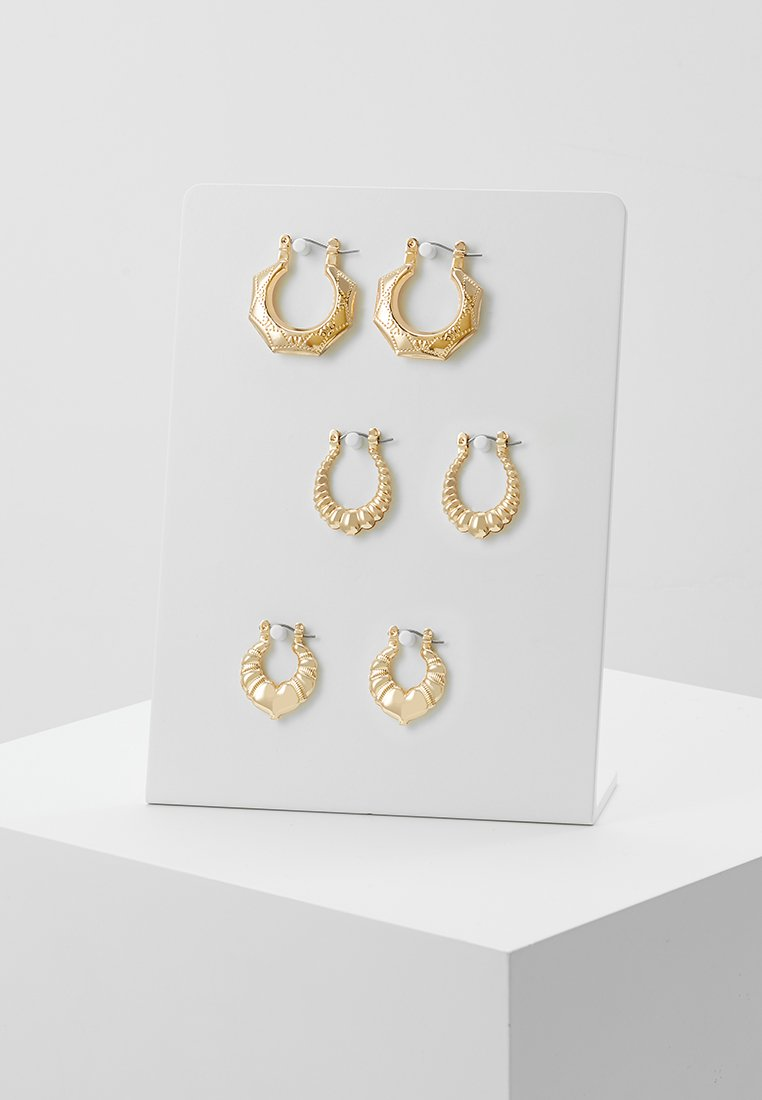 Topshop - BAMBOO HOOPS 3 PACK - Orecchini - gold-coloured
