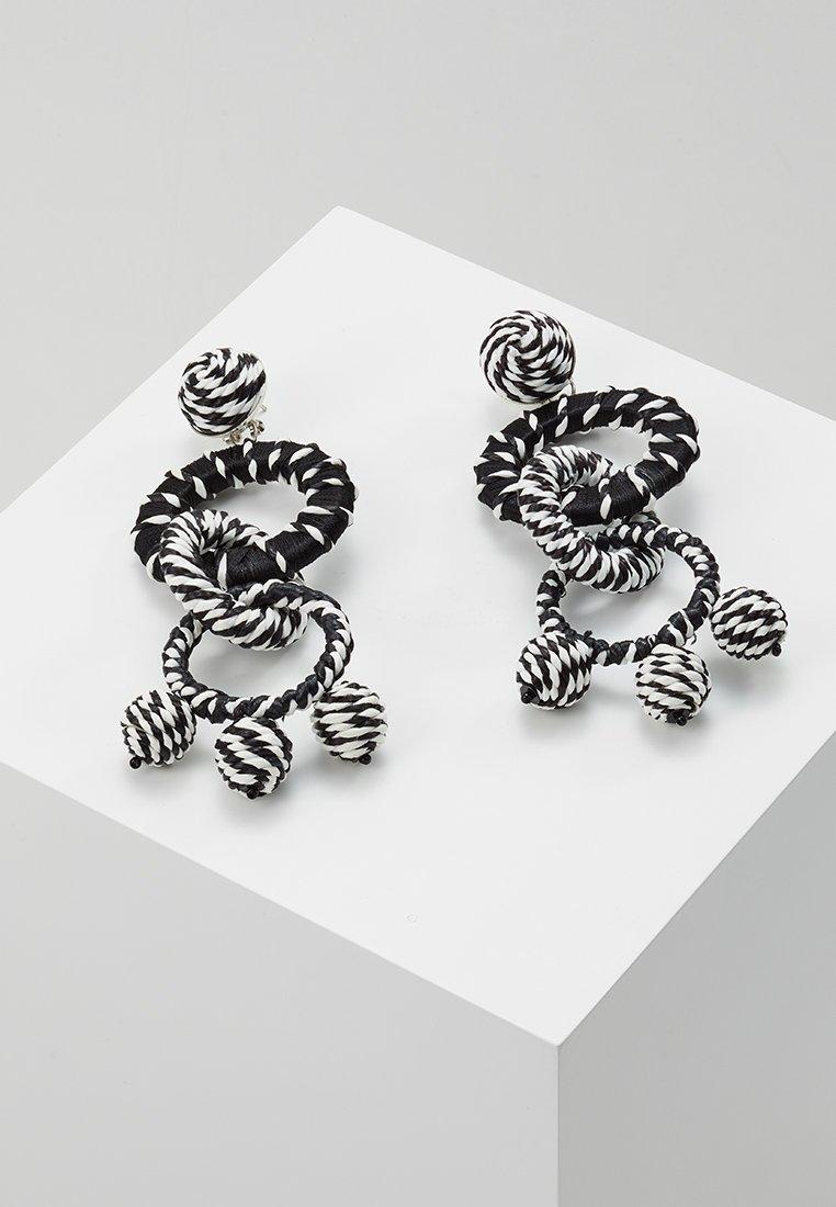 Topshop - WRAPPED LINK DROP EARRING - Ohrringe - black/white