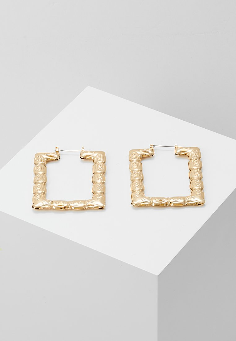 Topshop - REACTANGLE ETCHED HOOPS - Earrings - gold-coloured