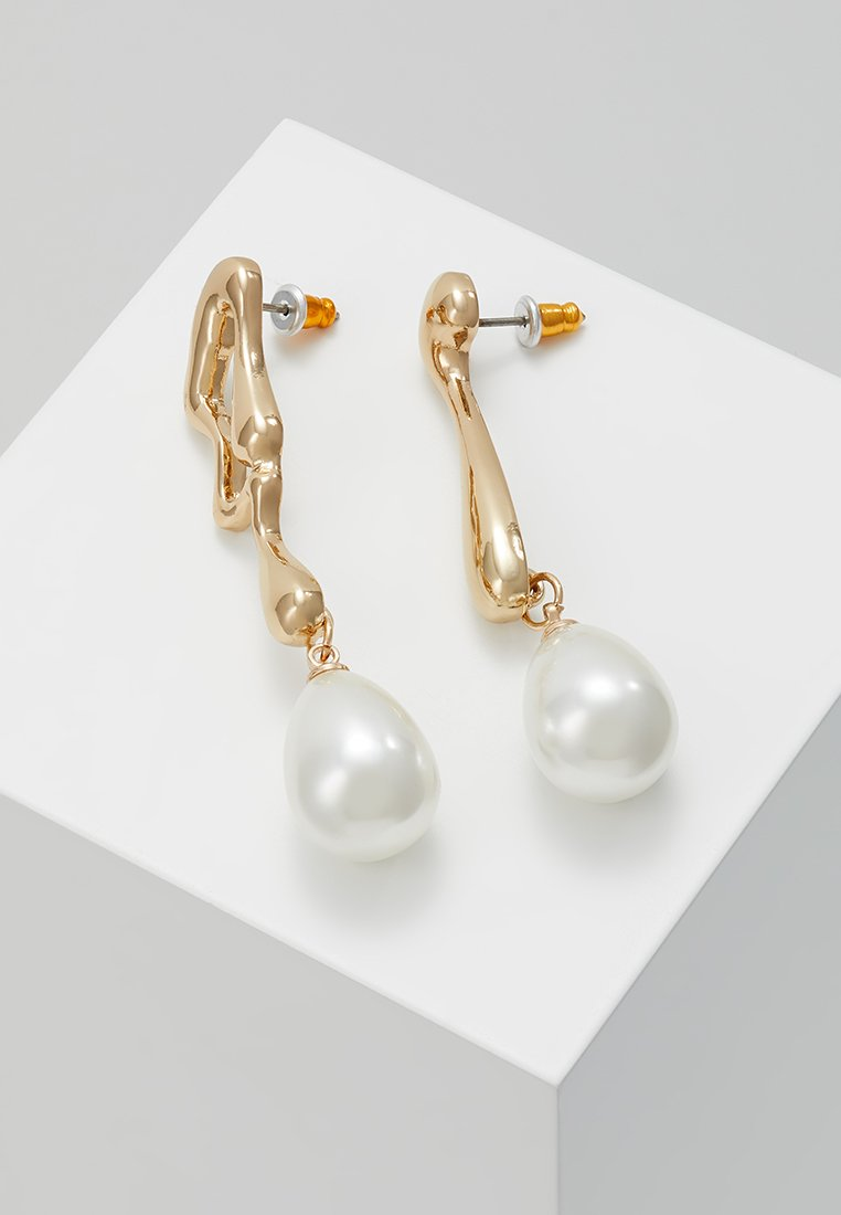 Topshop - ORGANIC MISMATCH PEARL DROPS - Earrings - gold-coloured