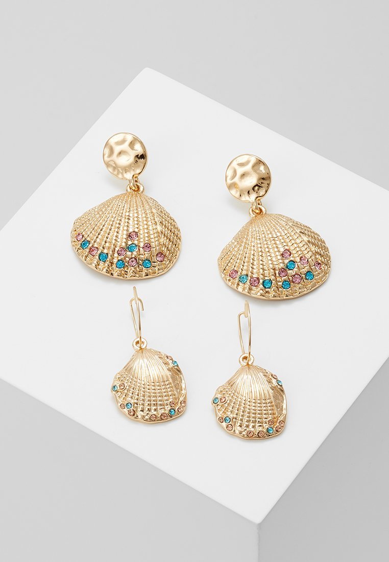 Topshop - SHELL EARRINGS SET - Boucles d'oreilles - gold-coloured