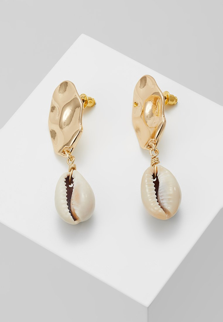 Topshop - HAMMERED DISC AND SHELL DROP - Boucles d'oreilles - gold-coloured