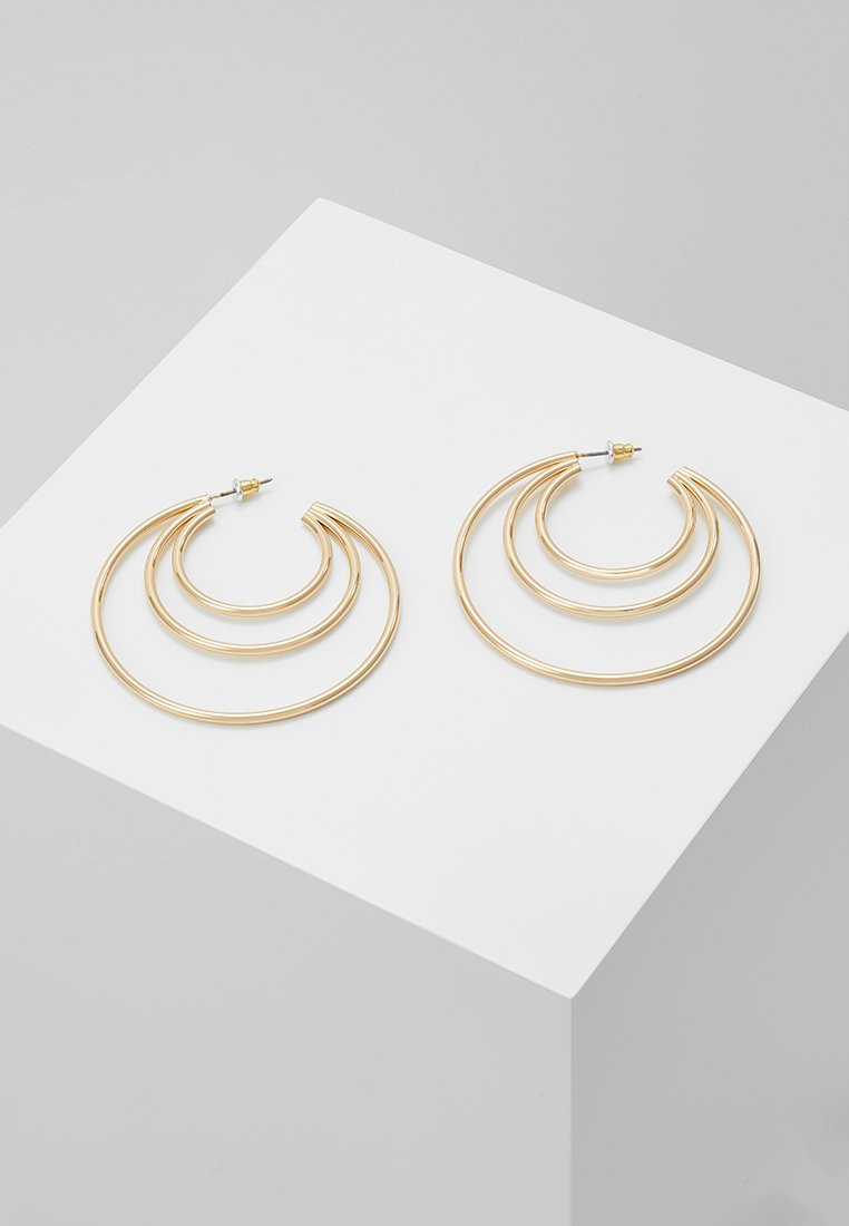 Topshop - ROW SPLIT HOOP - Earrings - gold-coloured