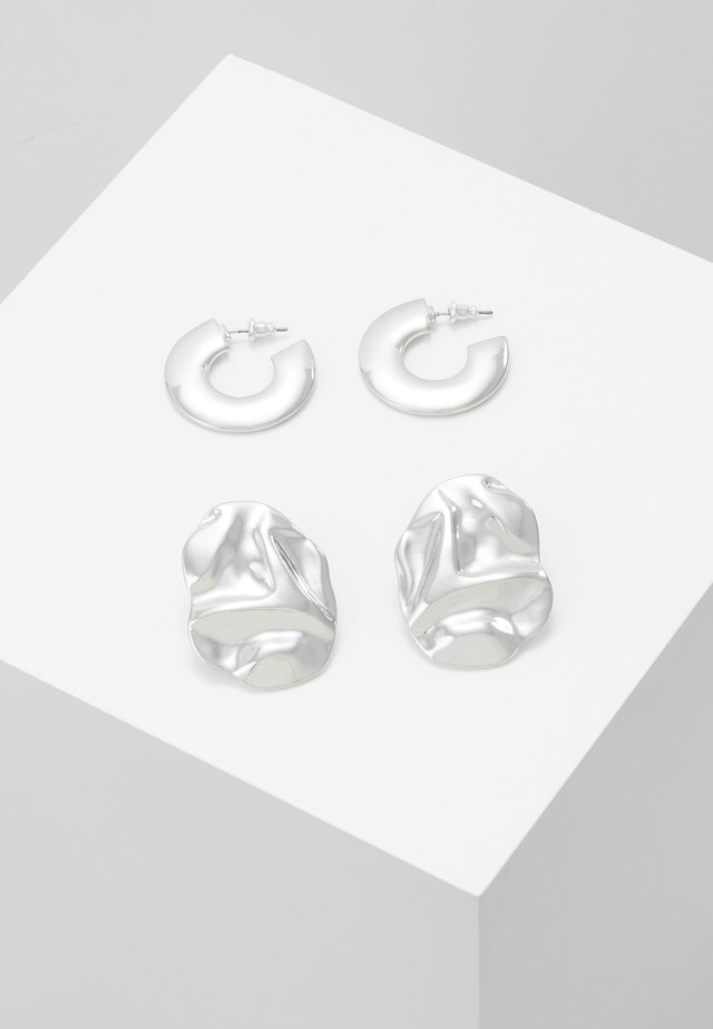 THICK HOOP 2 PACK - Pendientes - silver-coloured