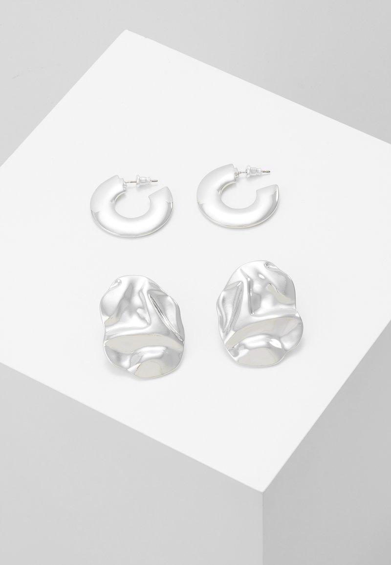 Topshop - THICK HOOP 2 PACK - Earrings - silver-coloured