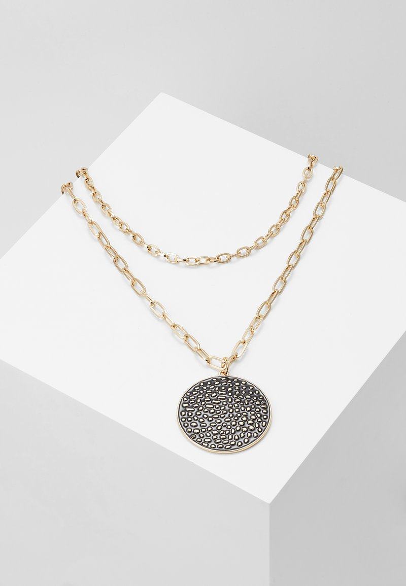 Topshop - DISC MULTI LAYER - Necklace - black