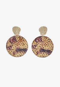 Topshop - LEOPARD DISC EARRING - Oorbellen - brown