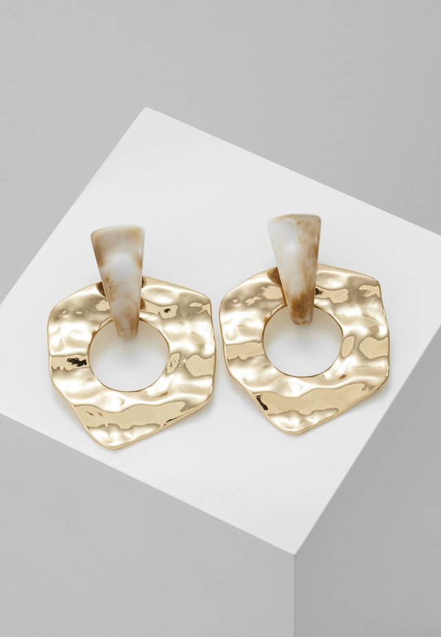 HAMMERED CIRCLE DROPS - Oorbellen - gold-coloured