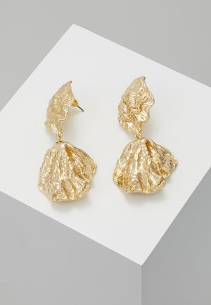 CRUSHED DOUBLE DROP - Boucles d'oreilles - gold-coloured