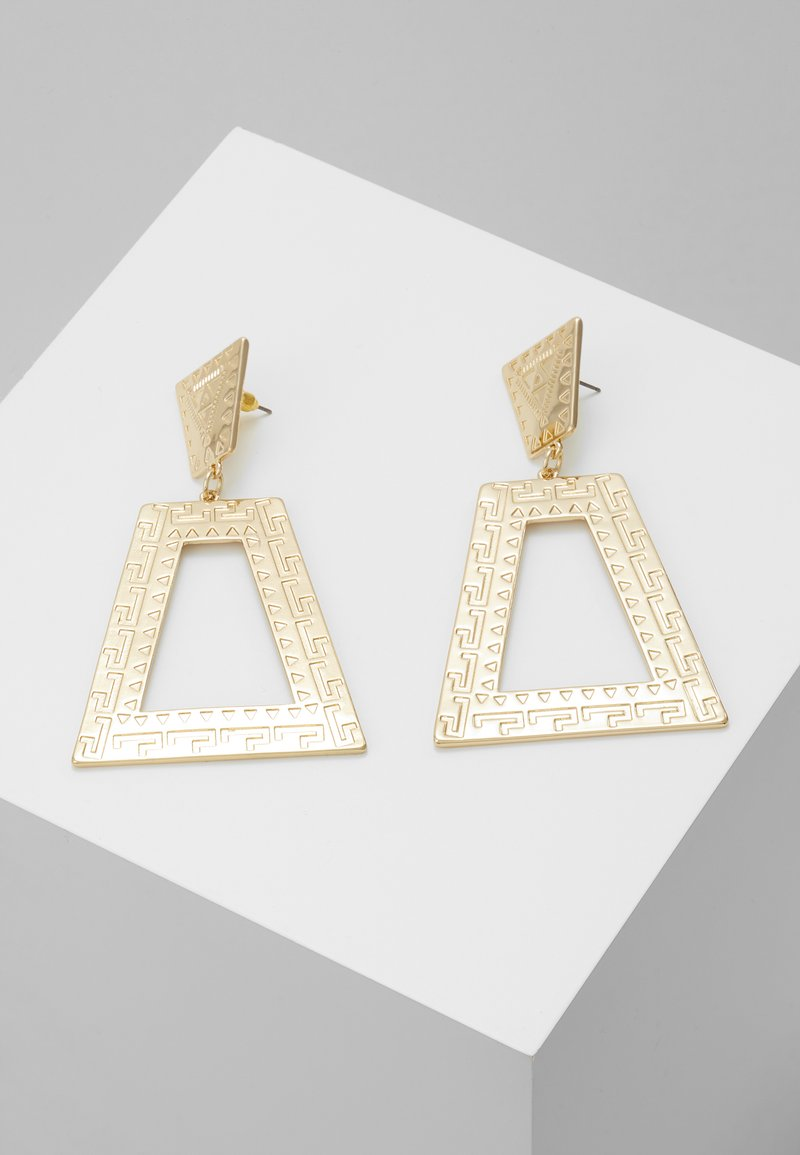 Topshop - ENGRAVED TRIANGLE DROP - Ohrringe - gold-coloured