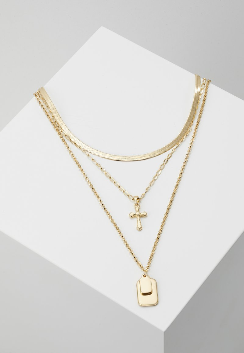 Topshop - TAG CROSS - Necklace - gold-coloured