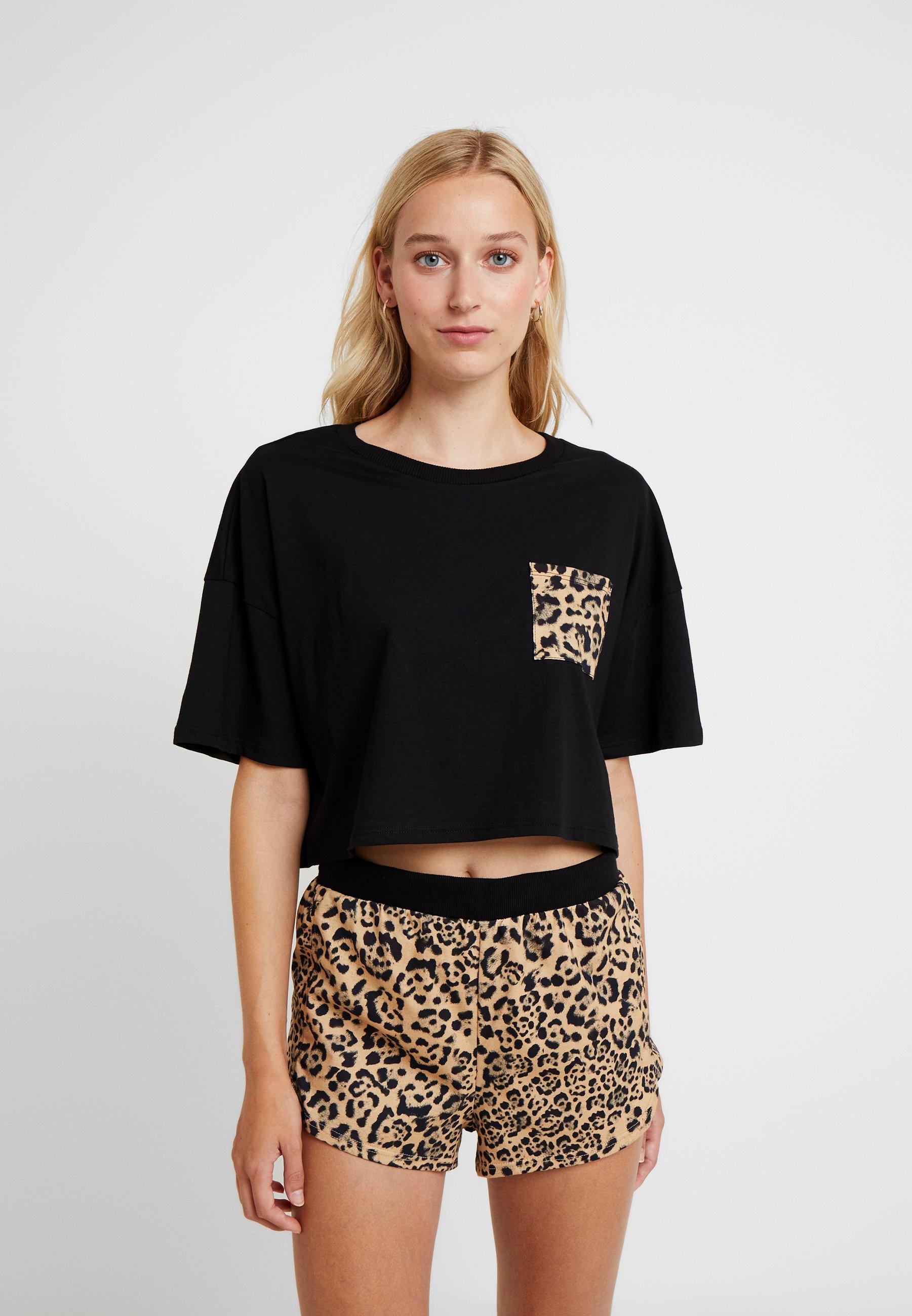 Leopard Boxy Black Topshop SetPyjama Pocket 6gfv7bYy