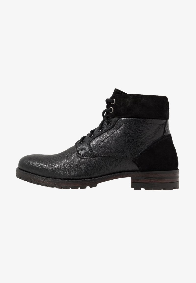 Topman - JACKSON CUFF BOOT - Lace-up ankle boots - black