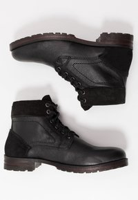 Topman - JACKSON CUFF BOOT - Lace-up ankle boots - black - 1