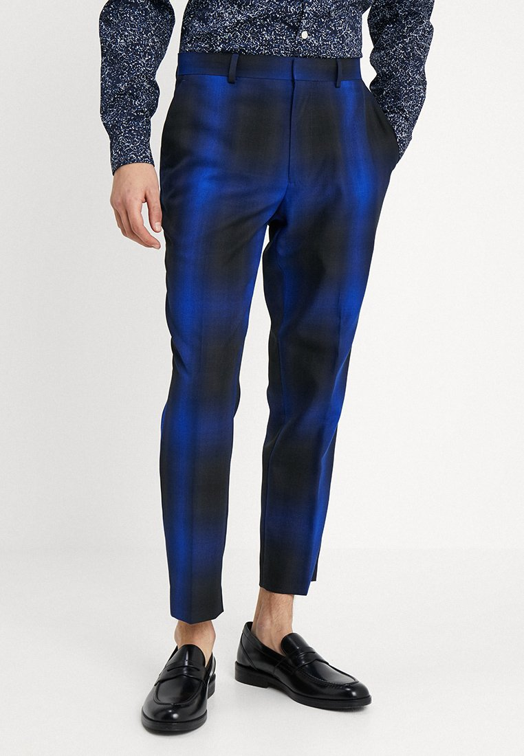 Topman - OMBRE COBALT CHECK - Pantalon de costume - blue
