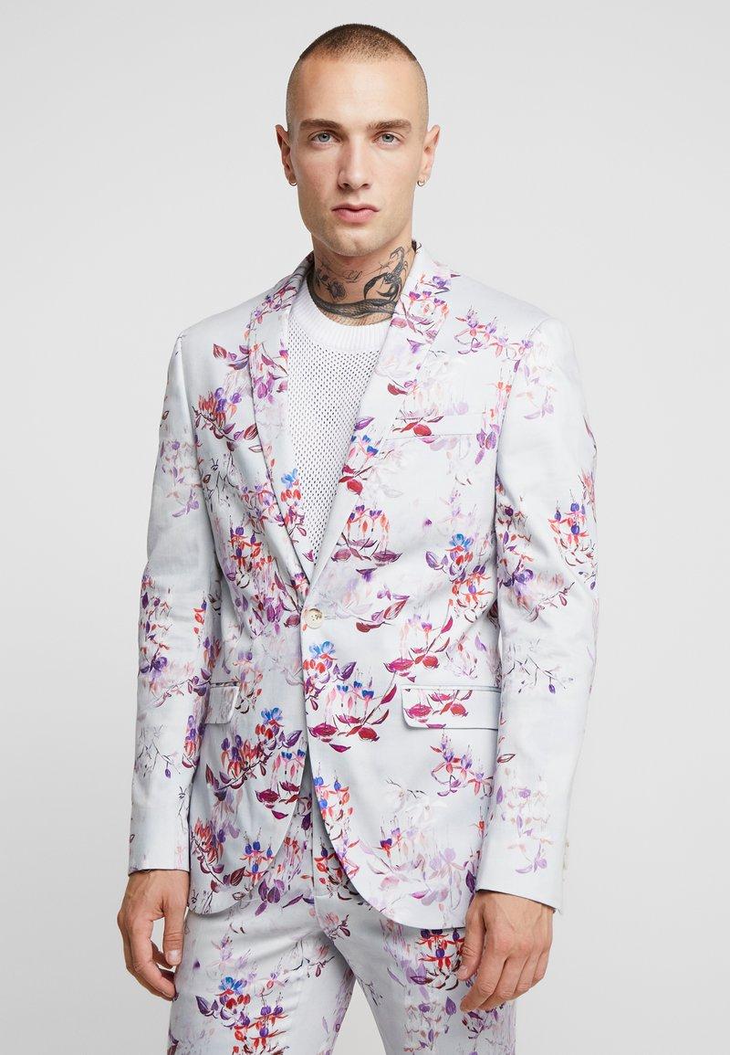 Topman - SUIT - Veste de costume - burgundy