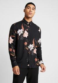 Topman - WINTER FLORAL - Shirt - black - 0
