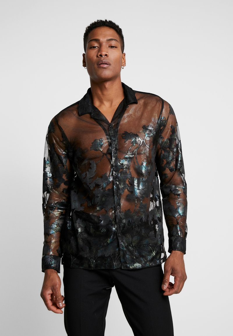 Topman - FLORAL SHEER PLACEMENT - Chemise - black