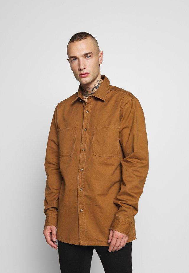 CONTRAST STITCH  - Shirt - brown