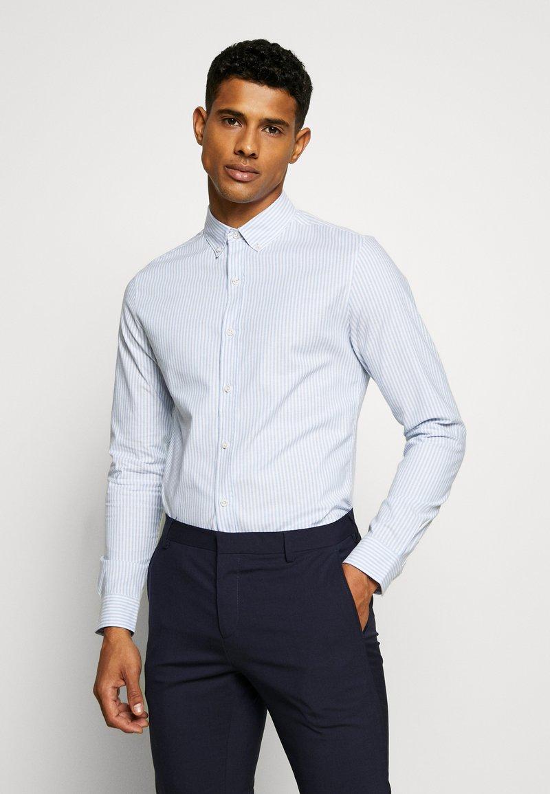Topman - PINSTRIPE - Formal shirt - blue