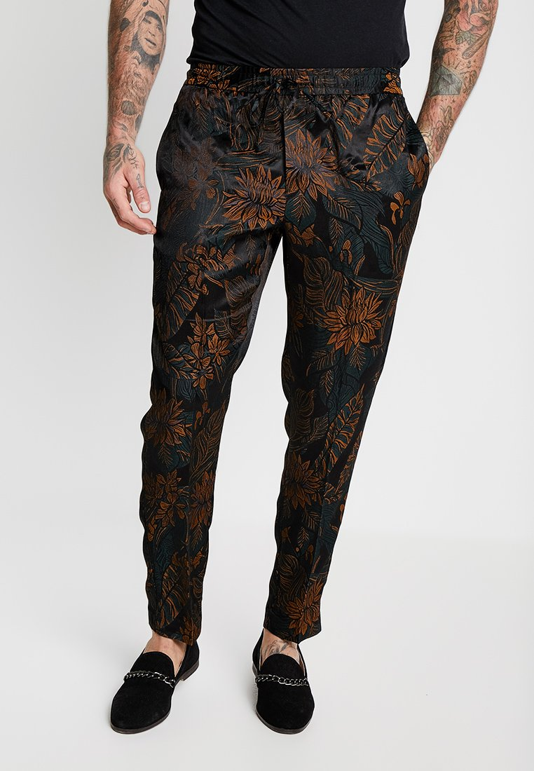 Topman - FLORAL PRINTED TROUSER - Pantaloni - black/orange