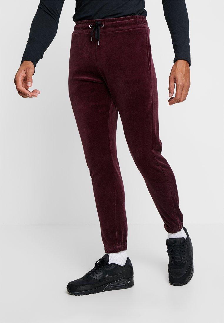 Topman - SIDE TAPE - Teplákové kalhoty - burgundy