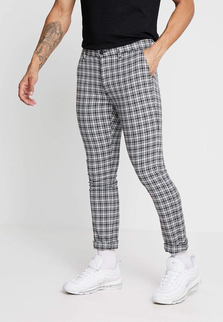 Topman - CHECK SKINNY - Trousers - black