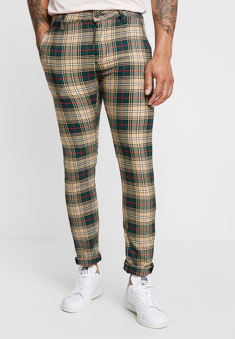 Topman - CHECK - Trousers - stone