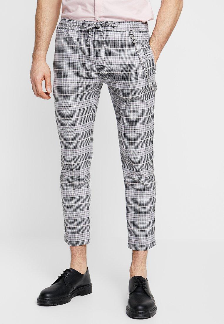 Topman - SUMMER CHECK JOGGER WITH ZIPS - Pantalones - grey