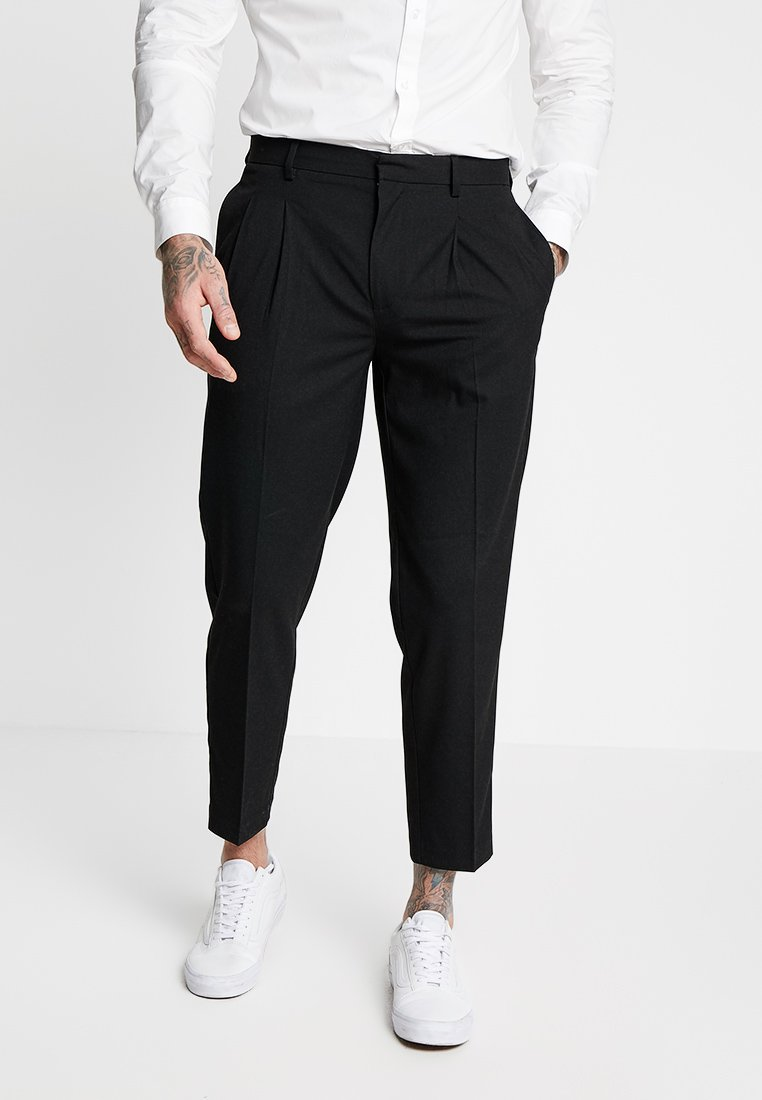 Topman - PLEAT TAPER - Trousers - black