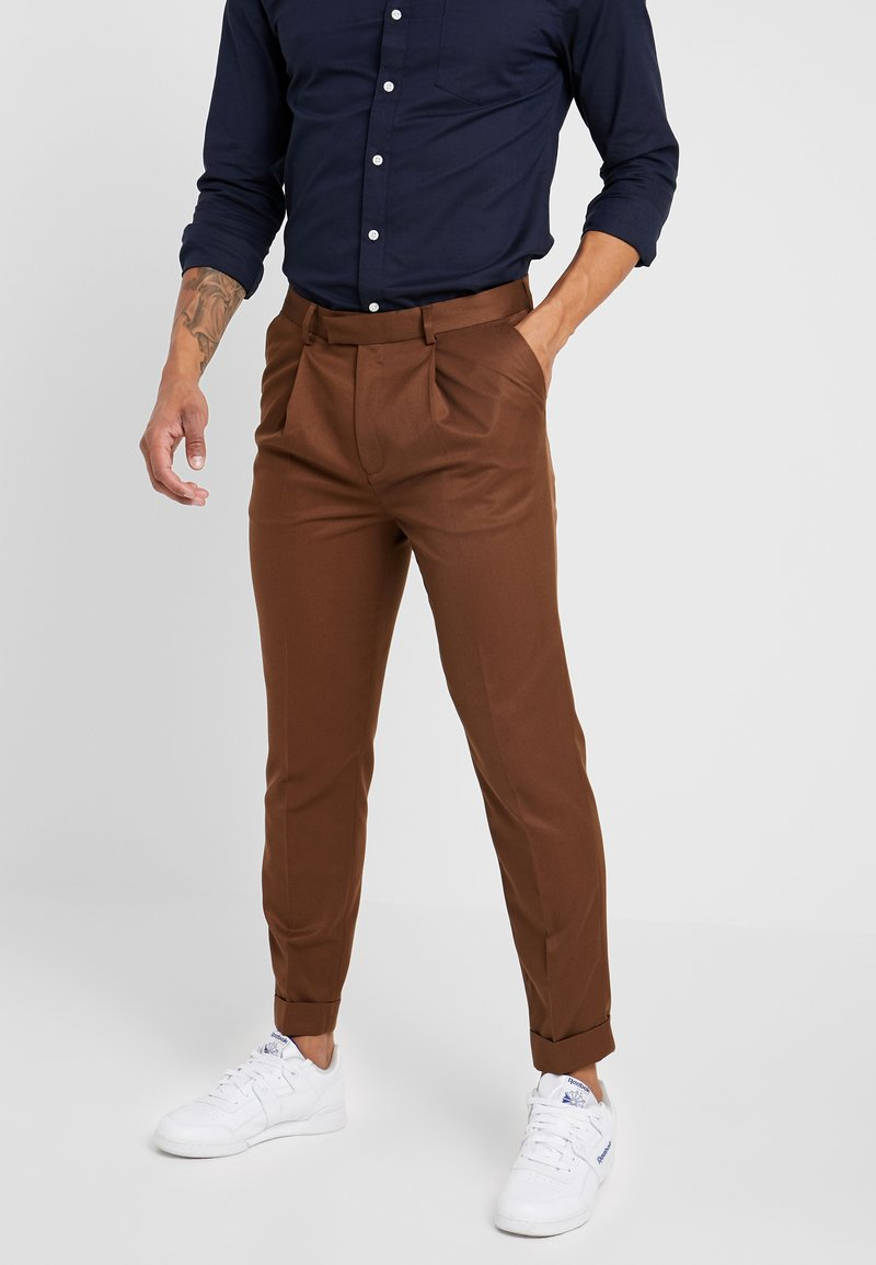 Topman - TURN UP - Stoffhose - camel
