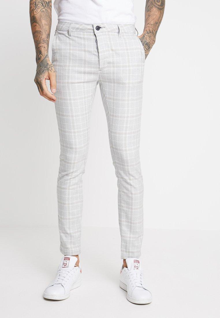 Topman - NEW CHECK STRETCH SKINNY - Trousers - grey