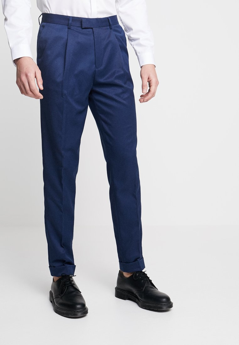 Topman - TURN UP TROUSERS - Stoffhose - navy
