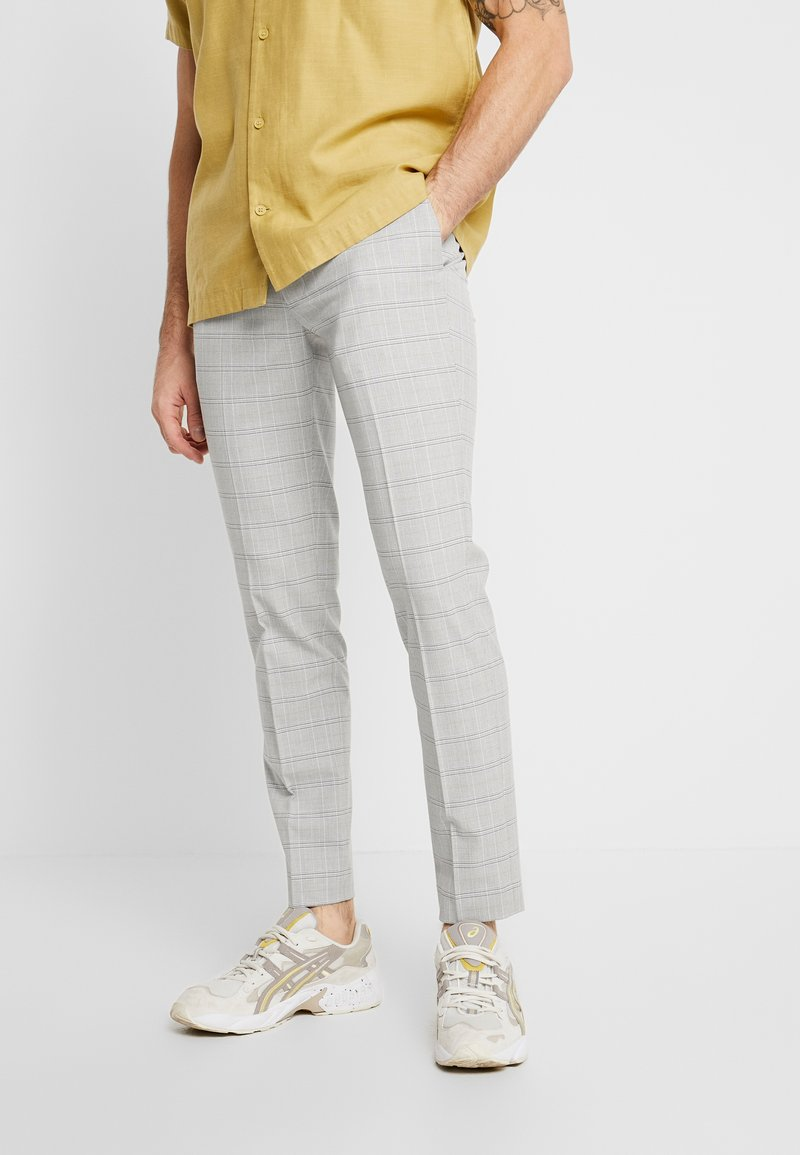 Topman - CHECK TROUSERS - Pantalon classique - grey