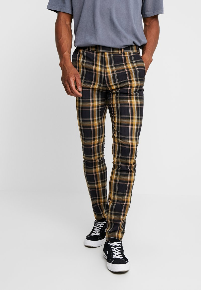 Topman - HIGHLIGHT BOLD CHECK SUPER SKINNY - Broek - navy