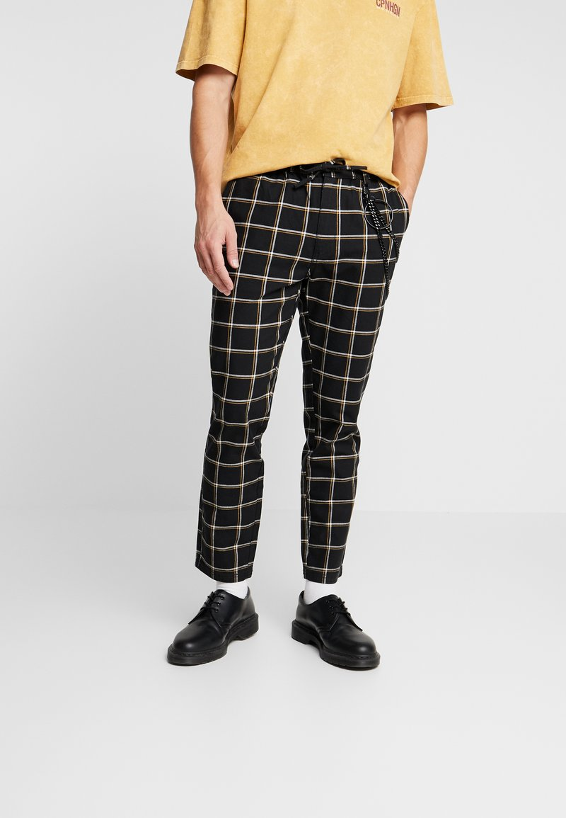 Topman - GRID WITH CHAIN - Tygbyxor - black